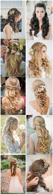 Ślubne fryzury- włosy rozpuszczone