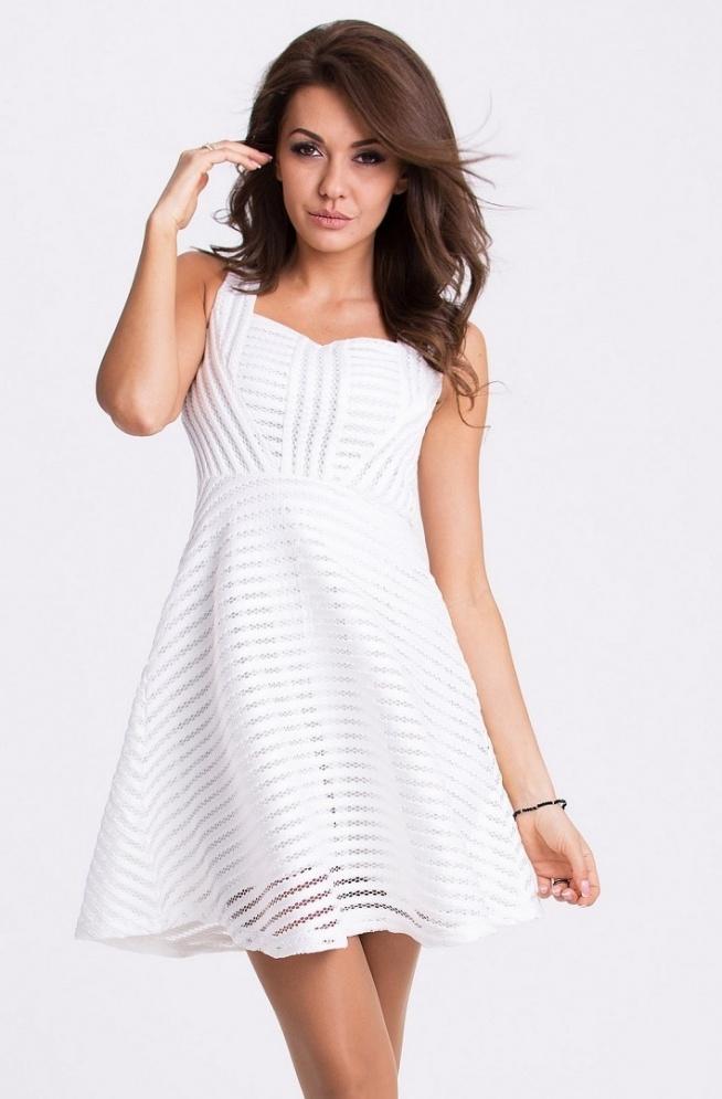 Rozkloszowana sukienka Emamoda kolor biały. Dostępna także czerwona i czarna.  Producent Emamoda Sklep Allettante.pl