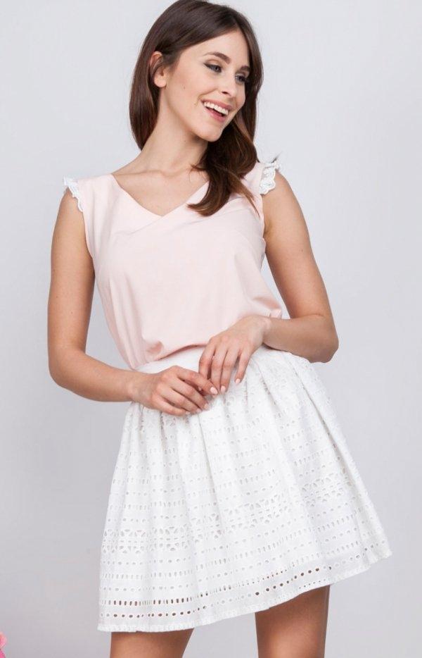 Milu MP161 spódnica biała Elegancka ażurowa spódnica, długość mini, niezwykle urocza i dziewczęca propozycja na lato