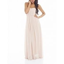 Gorsetowa długa sukienka z szyfonu na wesele kolor nude