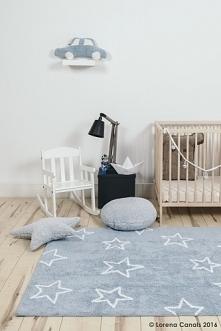 Dywan dla dzieci do prania w pralce Estrellas niebieski w gwiazdy