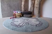 Dywan do prania w pralce dla dzieci MOTYL Butterfly Green