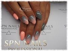 Shade of Grey + Whops  Nails by Olga, Studio Magnetic Nails Monika Sokołowska...
