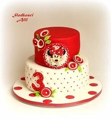 Tort z myszką Minnie Wszystkie dekoracje wykonuję sama z cukru.