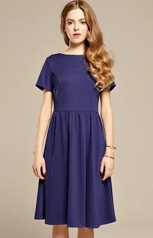 Misebla MSU0054 sukienka chabrowa Piękna sukienka, z krótkim rękawem, dół sukienki delikatnie rozszerzany, góra dopasowana