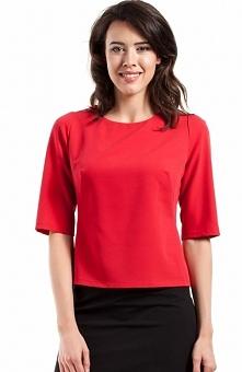 BEWEAR BW055 bluzka czerwona Stylowa bluzka, wykonana z gładkiej tkaniny, szerokie krótkie rękawy