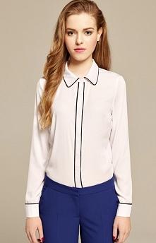 Misebla M0163 koszula biało-czarna Elegancka koszula, wykonana z miękkiej i delikatnej tkaniny, kołnierzyk
