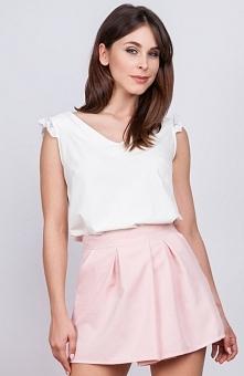 Milu MP166 bluzka ecru Elegancka bluzka z koronką przy rękawie, trójkątny dek...
