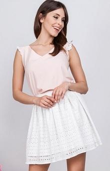 Milu MP161 spódnica biała Elegancka ażurowa spódnica, długość mini, niezwykle...