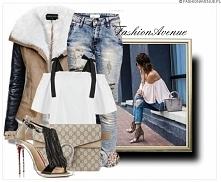 Stylizacja Kurtka Damska Mięciutki Kożuszek Ramoneska ze Skórzanymi Rękawami wiosna 2017 model #55 fashionavenue.PL