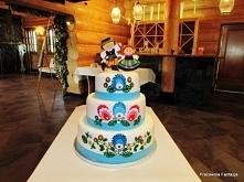 Tort weselny w stylu folk