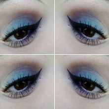 Niestety dalej nie potrafię znaleźć najlepszego ustawienia do zdjęć :( Makijaż dla piwnych/brązowych oczu czyli złoto, błękit i fiolet oraz kreska czarnym eyelinerem :)  Oko: mo...