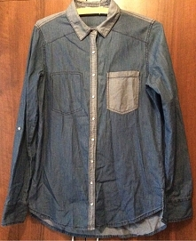 koszula jeansowa z połączenia 2 odcieni dżinsu Stradivarius M
