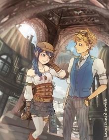 Steampunkowi Adrien i Marinette.