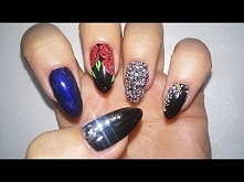 Efekt syrenki, róże, cyrkonie/ćwieki na paznokciach- Rock Nails - MANICURE HYBRYDOWOWY   Semilac
