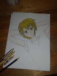 Kolejny rysunek z Another ^^ tym razem jest to Naoya Teshigawara. Mega podoba mi się ta kreska. Włosy może nie są najlepiej pokolorowane...