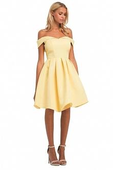 Żółta sukienka, rozkloszowana