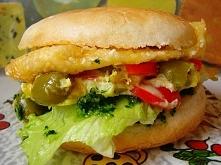 Hamburger wegetariański z kotletem serowym