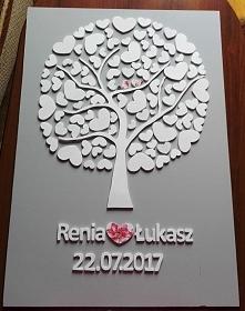 Drzewko szczęścia obraz - idealny prezent ślubny, na rocznicę ślubu, rocznicę związku lub też jako księga gości weselnych na której goście mogą zostawić podpisy bądź odciski pal...