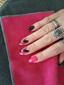 pink braided nails różowe paznokcie warkocz