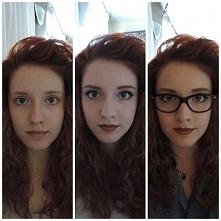 Przed, po makijażu i w całości :) Fryzura typ - śmieszna szopa xD