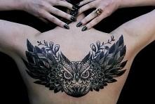 owl tattoo back sowa tatuaż
