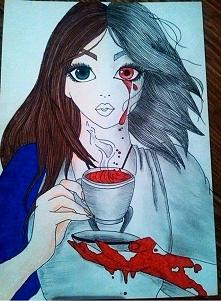 Pierwsza praca kolorowa ♥  Moja interpretacja tego rysunku to dwie twarze..☺!♥