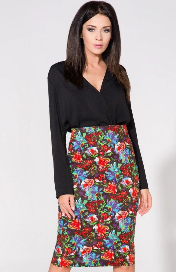 Tessita T156 spódnica Elegancka spódnica, ołówkowy fason, wykonana z pięknej kwiatowej dzianiny