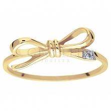 Dziewczęcy pierścionek Kokardka z żółtego złota próby 585 z wiecznym brylante...