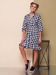 Sukienka koszulowa z naturalnego lnu z niewielką domieszką strechu, rękaw 3/4...