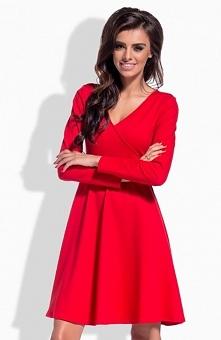 Lemoniade L154 sukienka czerwona Komfortowa sukienka, rozkloszowany dół, góra dopasowana, dekolt w szpic