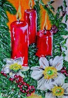 Praca z 2013 roku, wykonana pastelami, na podstawie świątecznej pocztówki.