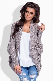 Lemoniade LS170 sweter cappucino Świetna sweterkowa narzutka, długi rękaw, niezapinana, luźny krój