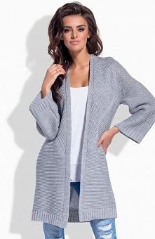 Lemoniade LS171 sweter szary Stylowa narzutka, wykonana z przyjemnej dzianiny, długi rękaw