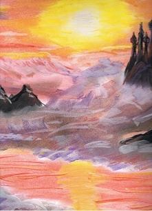 zamek w chmurach, kolejne pastele