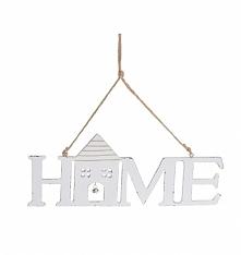 Zawieszka drewniana HOME z literami w kolorze białym lekko przecieranym. Wyją...