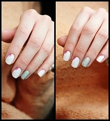Do manicure użyłam: odżywki, która posłużyła mi jako baza Essie fiji nr 14 Mollon Pro seria sand nr 145 biała i różowa farbka akryowa top coat