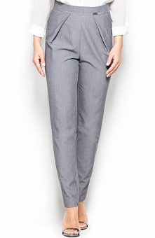 Katrus K397 spodnie szare Eleganckie spodnie, wykonane z gładkiej tkaniny, proste nogawki