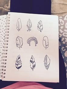 Kształty i rodzaje piór. Do narysowania.