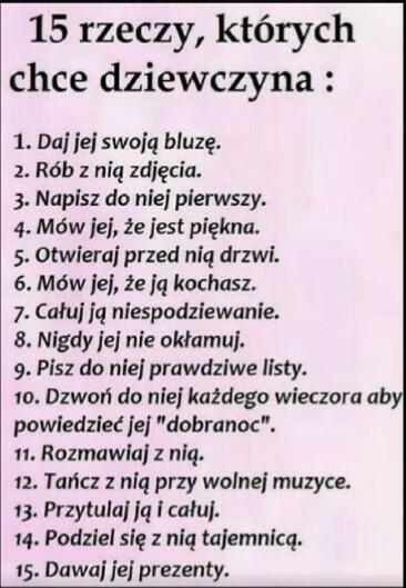 15 rzeczy których chce dziewczyna (: