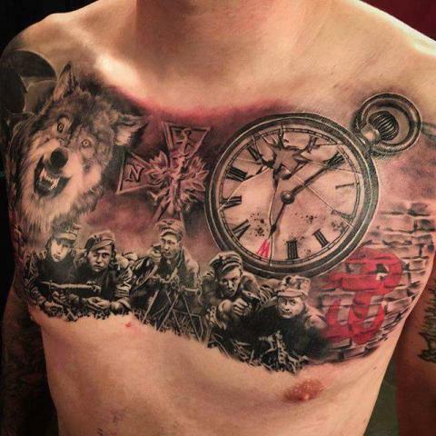 Tatuaż Klatka Plecy Patriotyczny Wilk Na Tatuaże Zszywkapl