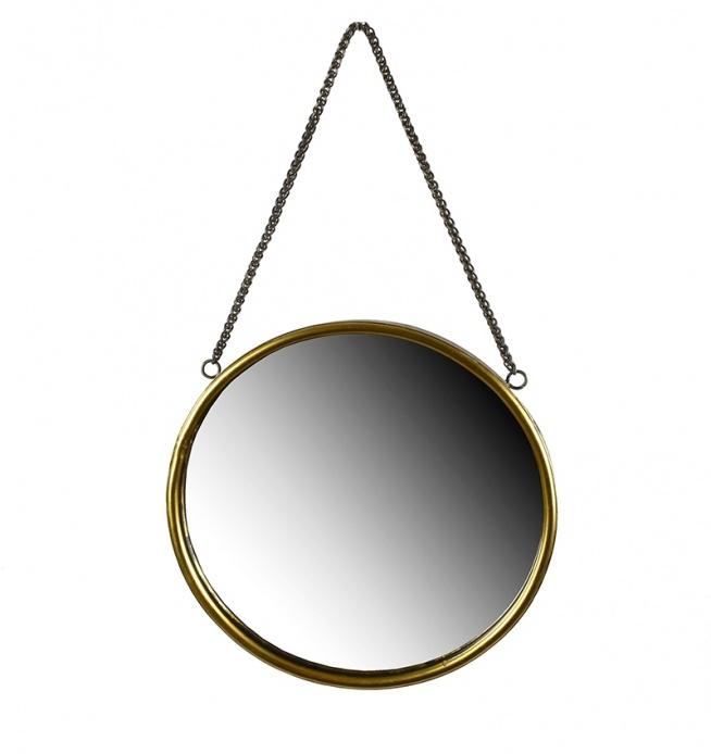 Lustro metalowe okrągłe do powieszenia na ścianę na łańcuszku. Rama lustra metalowa w kolorze mosiądzu. Pasuje jako lustro łazienkowe lub lustro na korytarz czy do sypialni. Piękny dodatek dekoracji wnętrza.