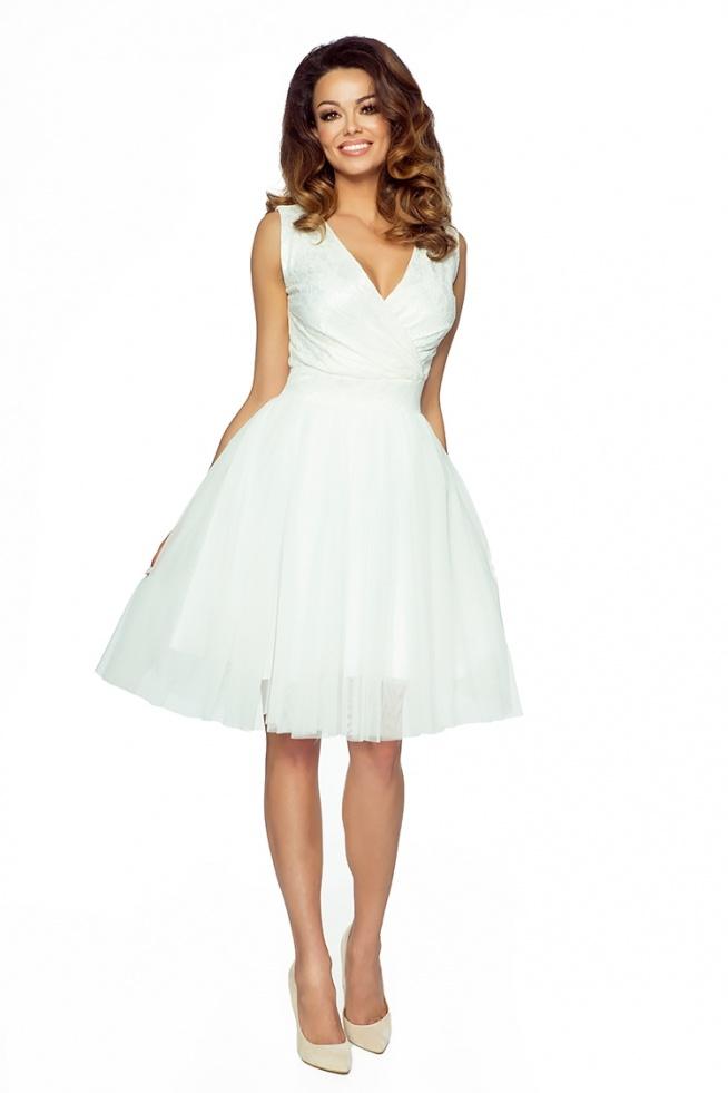 Bardzo Koktajlowa sukienka z tiulu i koronki kremowa na Sukienki na  @BQ-03