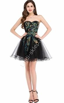 sukienka z pawimi piórami