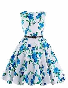 Sukienka dla dziewczynki w niebieskie kwiaty