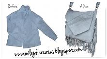 Zamszowa szara torebka z frędzlami zrobiona z żakietu DIY // Bag with fringes...