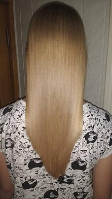 moje włosy po zabiegu keratynowego prostowania włosów.