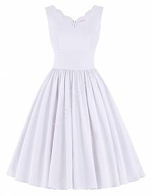 biała sukienka retro