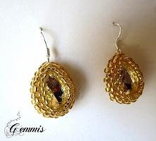 Srebrne kryształki oplecione złotymi koralikami toho na srebrnych biglach (próba 925) Szukajcie GEMMIS na fb (dokładny link w komentarzu)