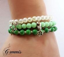 Komplet 3 wiosennych bransoletek z zawieszkami, które można nosić razem, albo osobno:  * zielono-srebrna * miętowa z koniczynką na szczęście  * biała z gwiazdką Szukajcie GEMMIS...